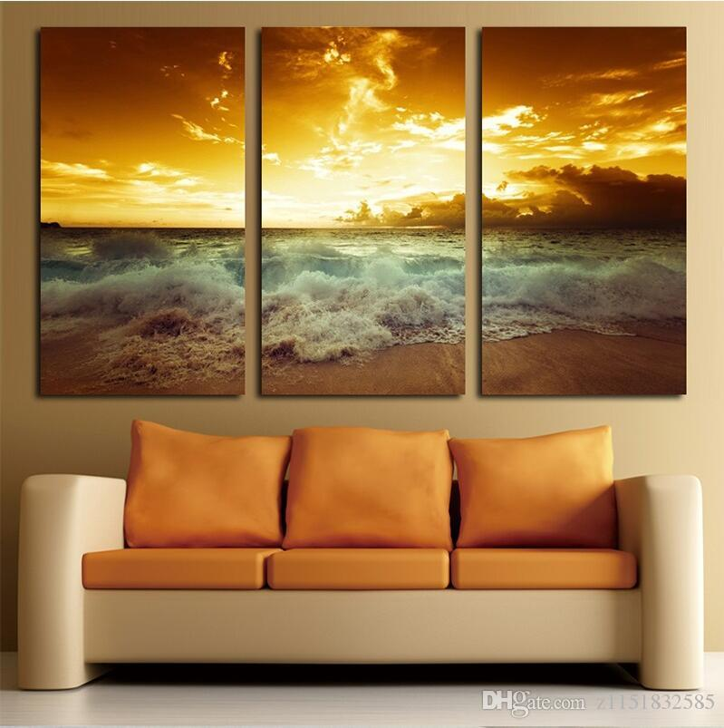 2019 Yellow Sea Landscape Canvas Painting For Living Wall ...
