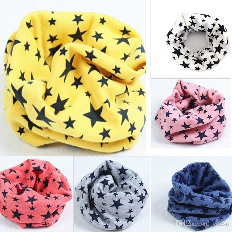 New Classic Kids Cotton Scarf Kids Boy Girl Ring Scarves Shawl Unisex Autumn Winter Knitting Star Col Cache-Neck