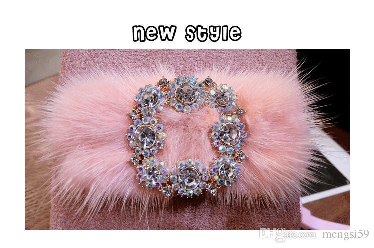 for iphone 6 6s 7 8 plus X Korea Fashion Luxury Cute Diamond bling Fox fur furry fiber soft phone case cover