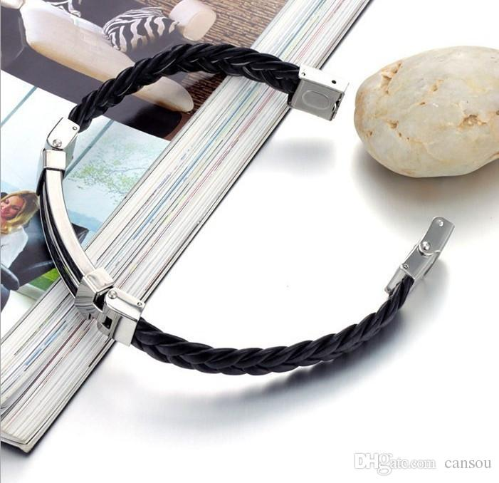 Hot Sale The New Fashion Men`s Bracelets Titanium Leather Steel Pulseras Silicone Black Bracelet