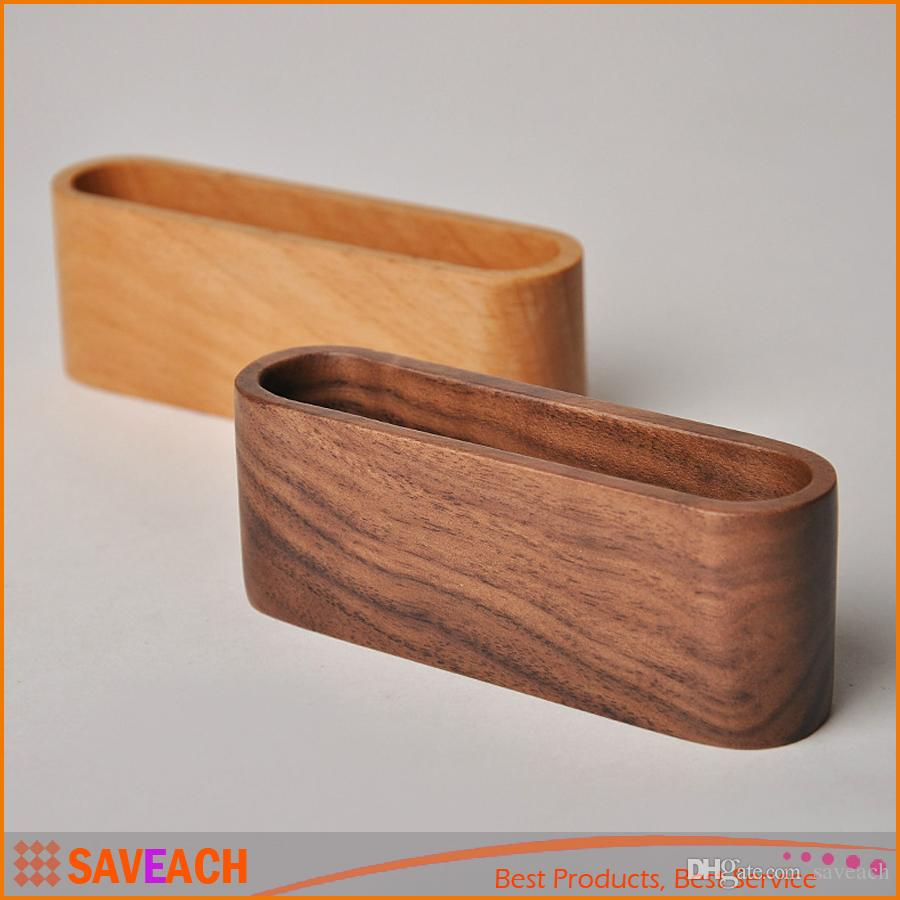 2018 Yellow Brown Walnut Beech Wood Business Card Holder Name Card ...