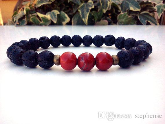 SN0140 Red Jasper Bracelet Men Black Lava Stretch Bracelet Courage Men Red Jasper bracelet Supply for Seller