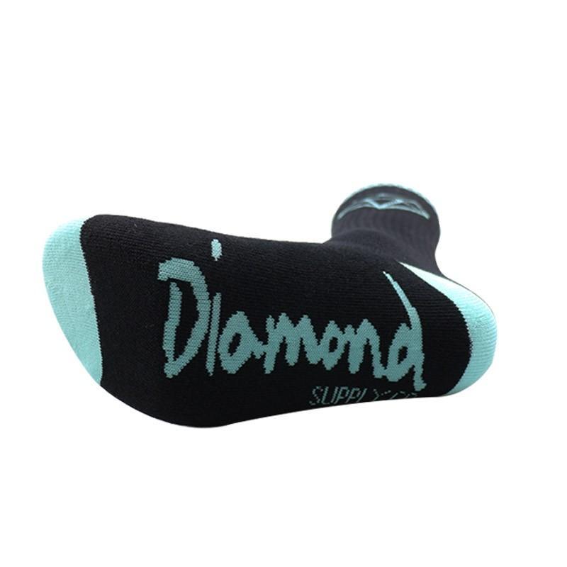 NUEVA alta calidad de los hombres de marca calcetines largos clásico diamante skateboard compresión terry de algodón para hombre canasta informal meias Envío Gratis
