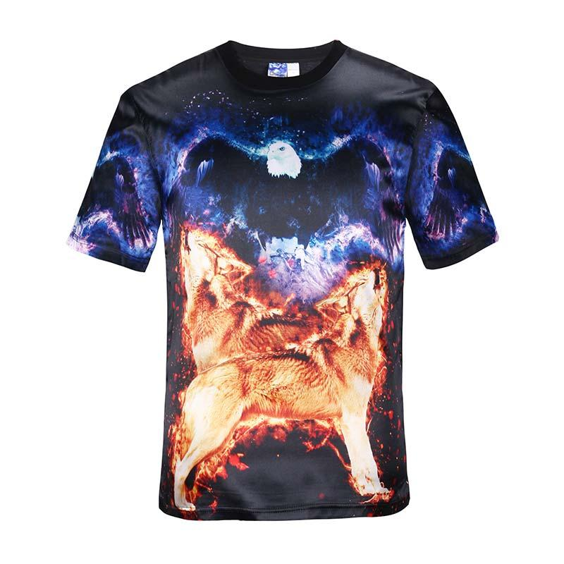 Tshirt Space/galaxy Clothes Men's Short Sleeve T-shirt 3d Print Wolf Eagle  Glossy Rayon Tee Shirt Sports Tops 3d T Shirt T Shirt Mens Tshirt Online  with ...