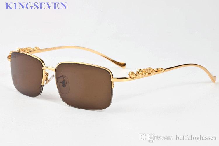 óculos de sol do esporte da forma para mulheres Homens Vintage chifre de búfalo vidros de prata ouro pés de metal pernas sem aro viagem óculos homens Lunettes de turismo