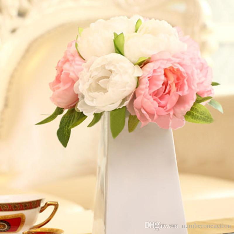 Pretty Charming 10 Heads Bouquet Artificial Peony Flowers Festival Party Decorative Flower Wedding Christmas Home Decal Flower