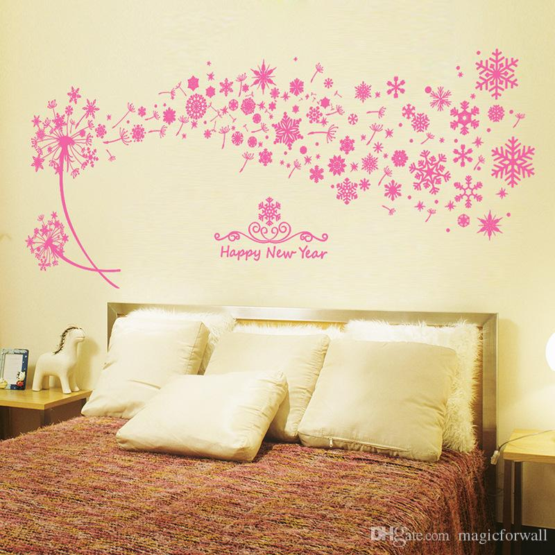 Pink Snowflake Dandelion Flowers Wall Stickers Girls Princess Room Wall  Decals Window Glass Wall Applique Decor Removable Pvc Wallpaper Removable Wall  Decal ... Part 92