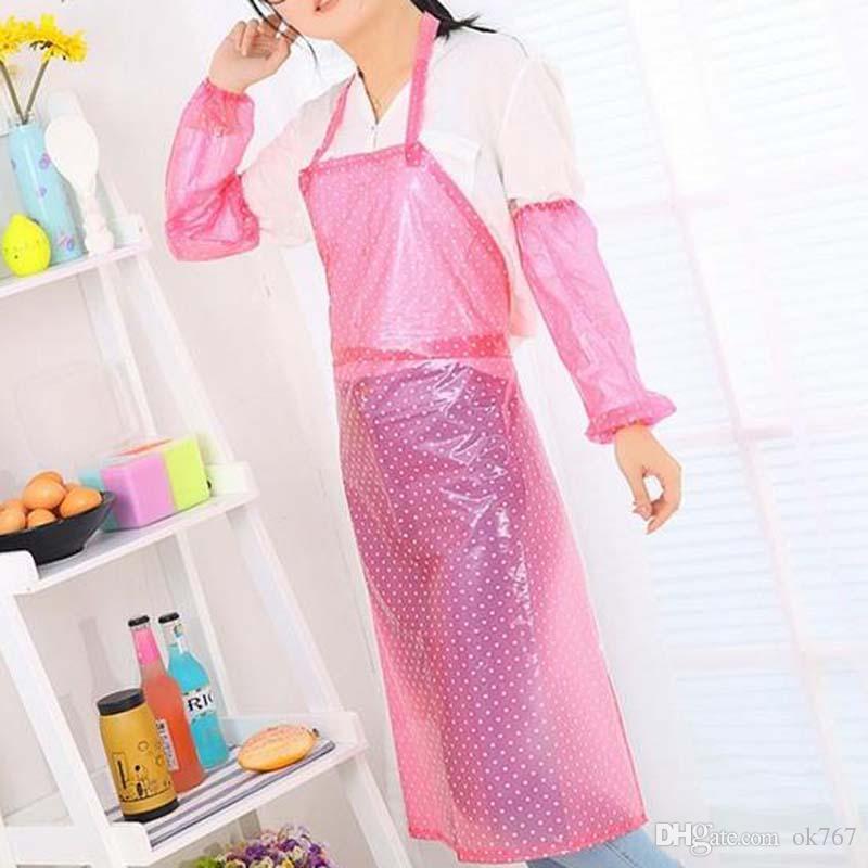 2017 yeni Moda su geçirmez yağ geçirmez ve su geçirmez önlük mutfak ev şeffaf plastik uzun iş elbiseleri
