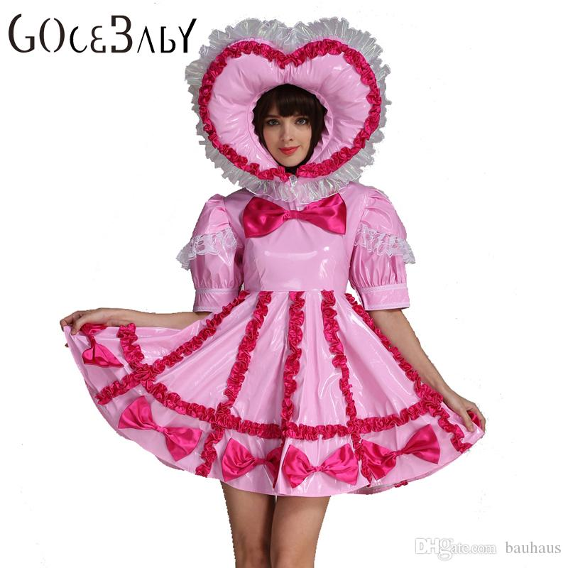 custom made sweet heart adult baby sissy lockable maid pvc pink dress uniform costume crossdress for halloween office halloween costume themes group - Halloween Costume Pink Dress