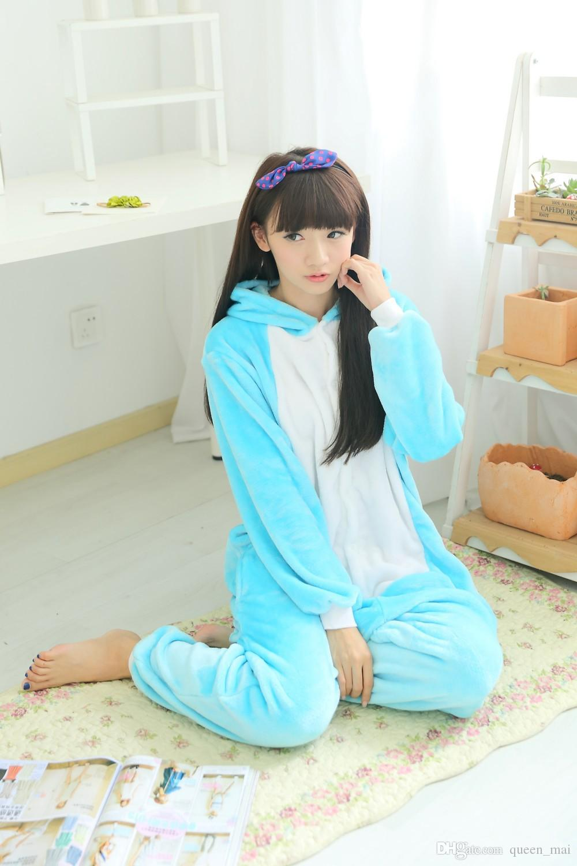 Fleece Anime Fairy Tail Happy Cat Onesie Children Cartoon party Cosplay Costume women Pajamas adult Blue Happy Cat Onesies jumpsuit Hooded