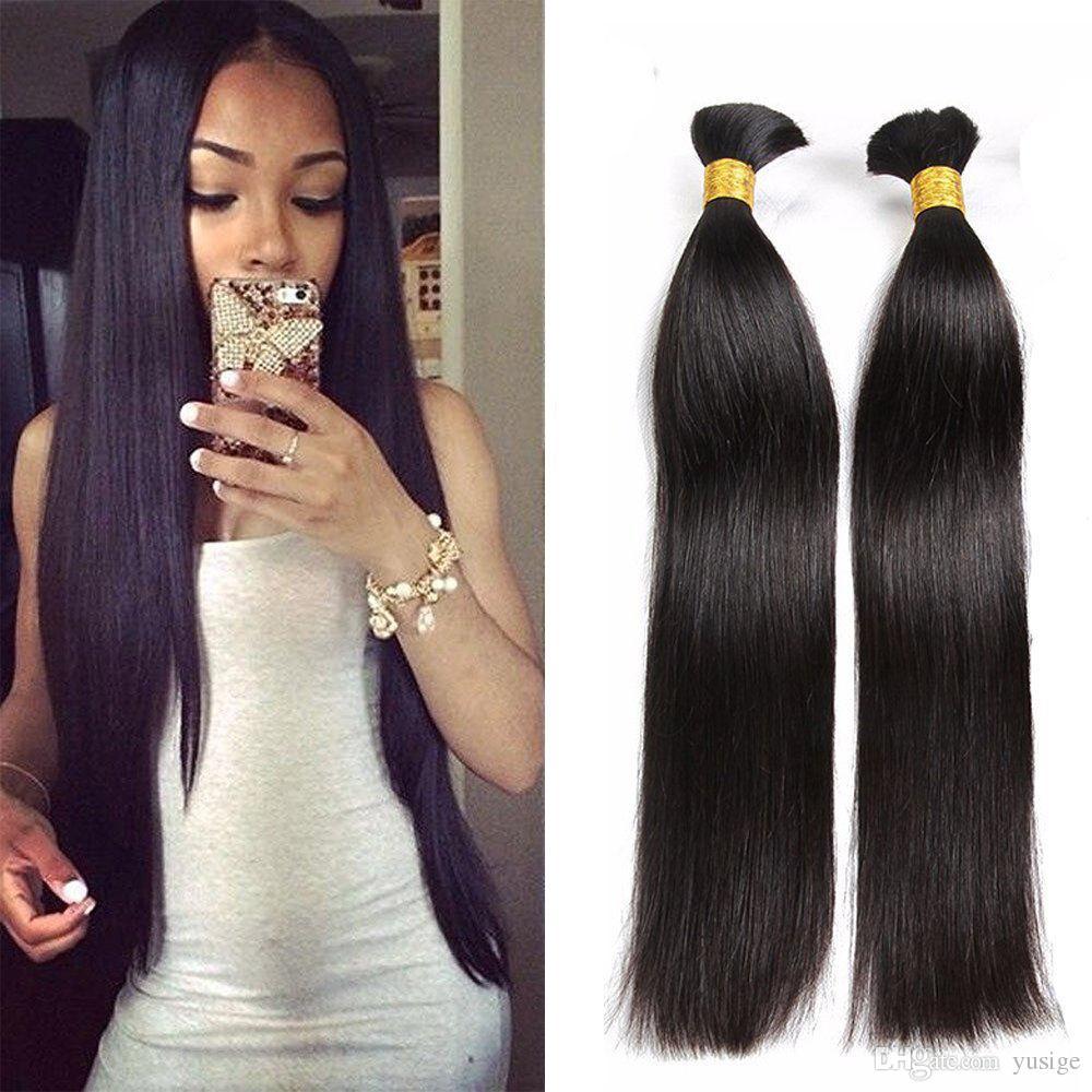 Natural Human Braiding Hair Bulk Silky Straight Natural Color