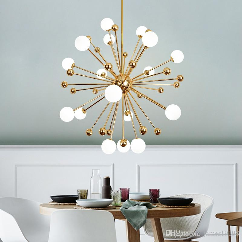 Modern Gold Spark Glass Chandelier Hanging Pendant Lamp Ceiling Light Fixture For Dinning Room Home Decoration PA0059