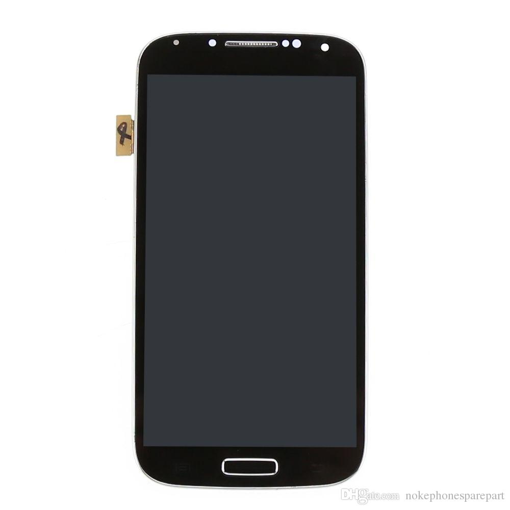 no sumsang logo LCD Touch Screen Digitizer with frame black For Galaxy S4 i9500