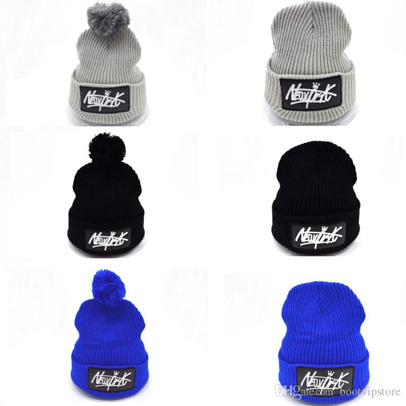 9214b68cd19 New Winter Knitted New York Letters Beanie Hats with Pom Pom Ski ...