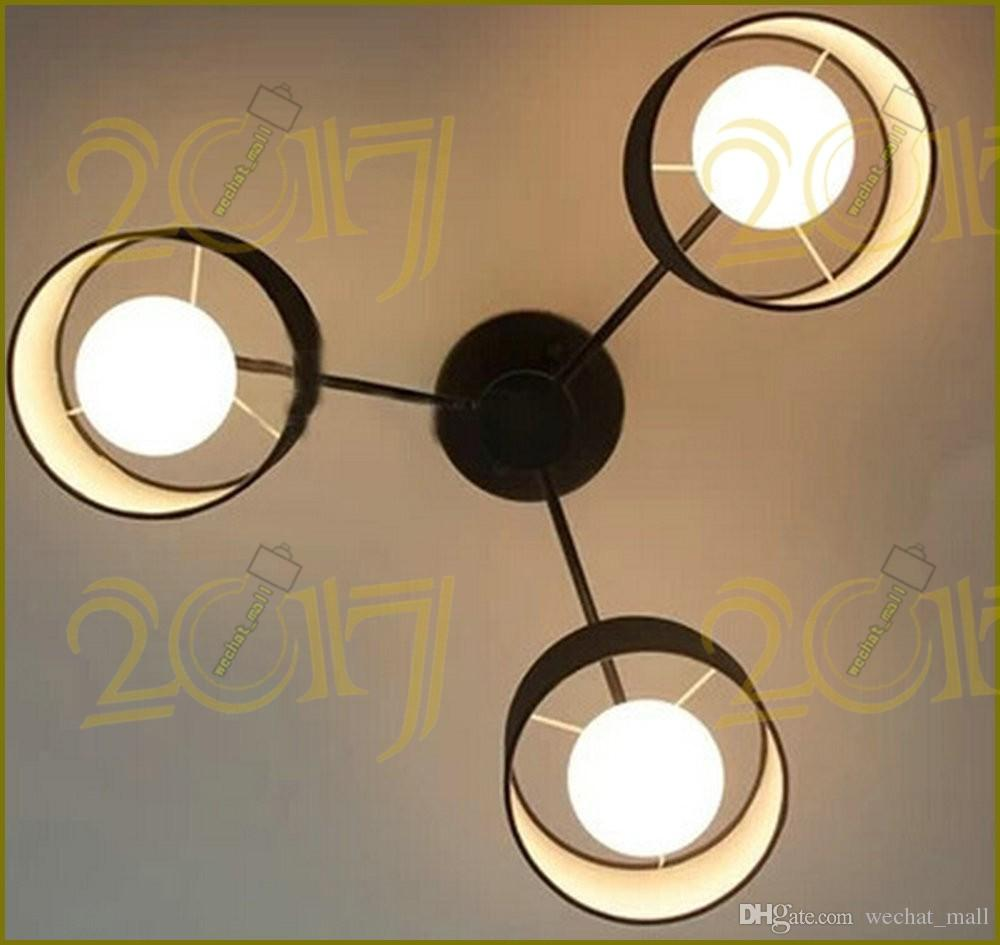 Modern Ceiling lights Fixture Semi-Flush Mount type Black White Colors Cloth Shade 3, 5 Bulbs with Iron for Livingroom Bedroom