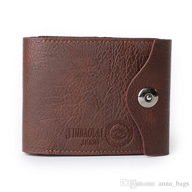 high quality fashion short purse super slim brown black business style magnet closure men designer genuine leather wallets