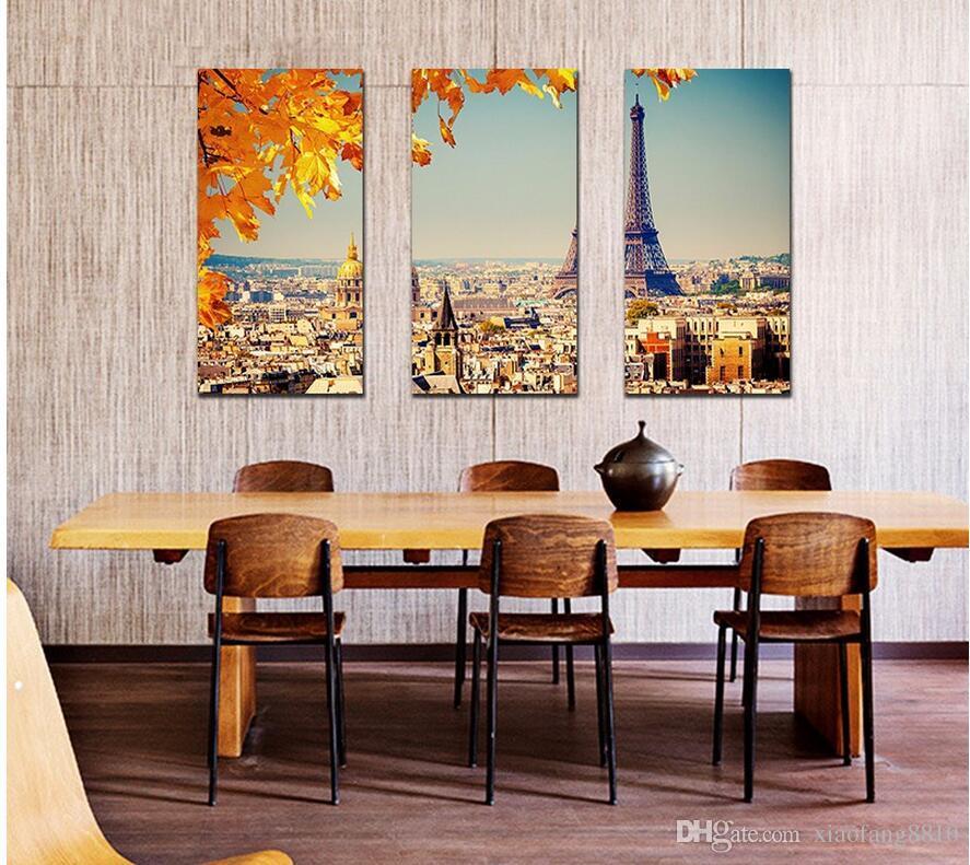 Moderne ville Paris feuille d'érable dessin scène orange Décoration Toile Tour Eiffel peinture mur Accrochage décoration non encadrée