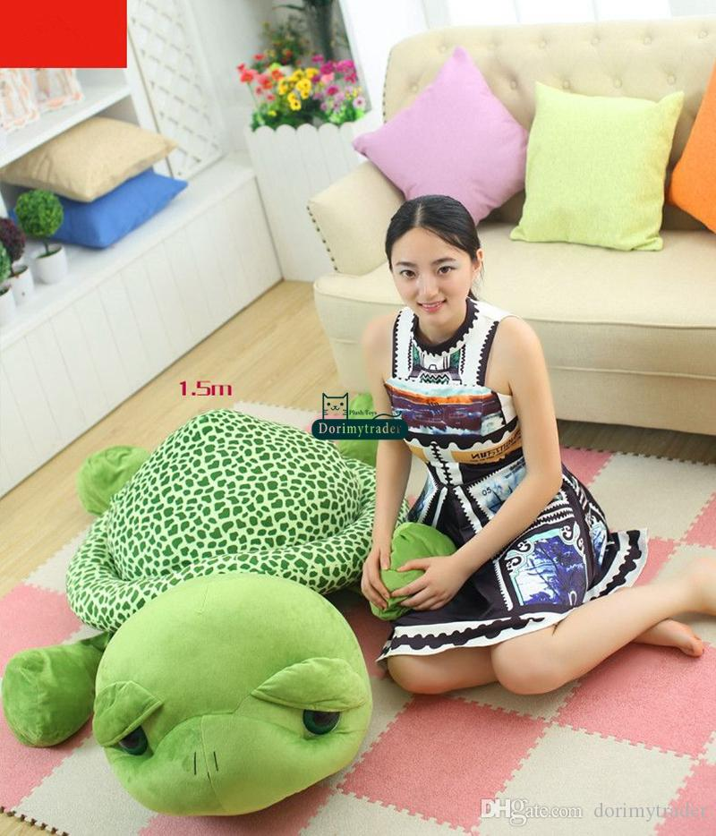 Dorimytrader 59'' / 150cm Lovely Stuffed Soft Giant Animal Tortoise Turtle Toy Birthday Gift for Babies DY60662