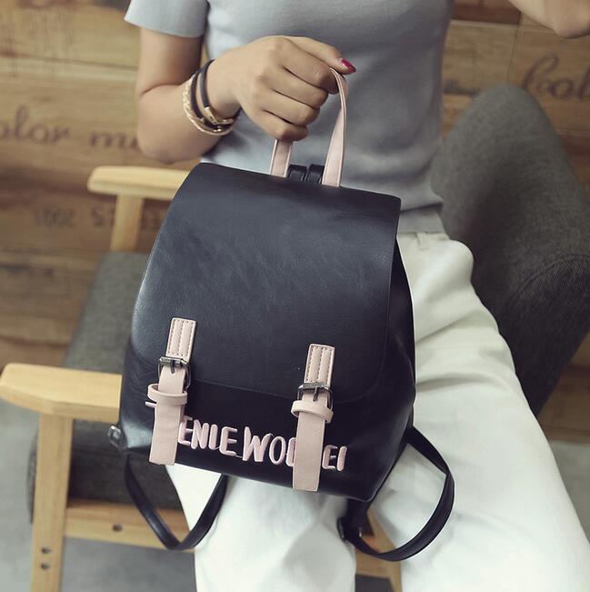 Fashion Women Backpack 2017 PU Leather Women Backpack College Wind Small Fresh Sweet Girl High Quality Travel Books Rucksack