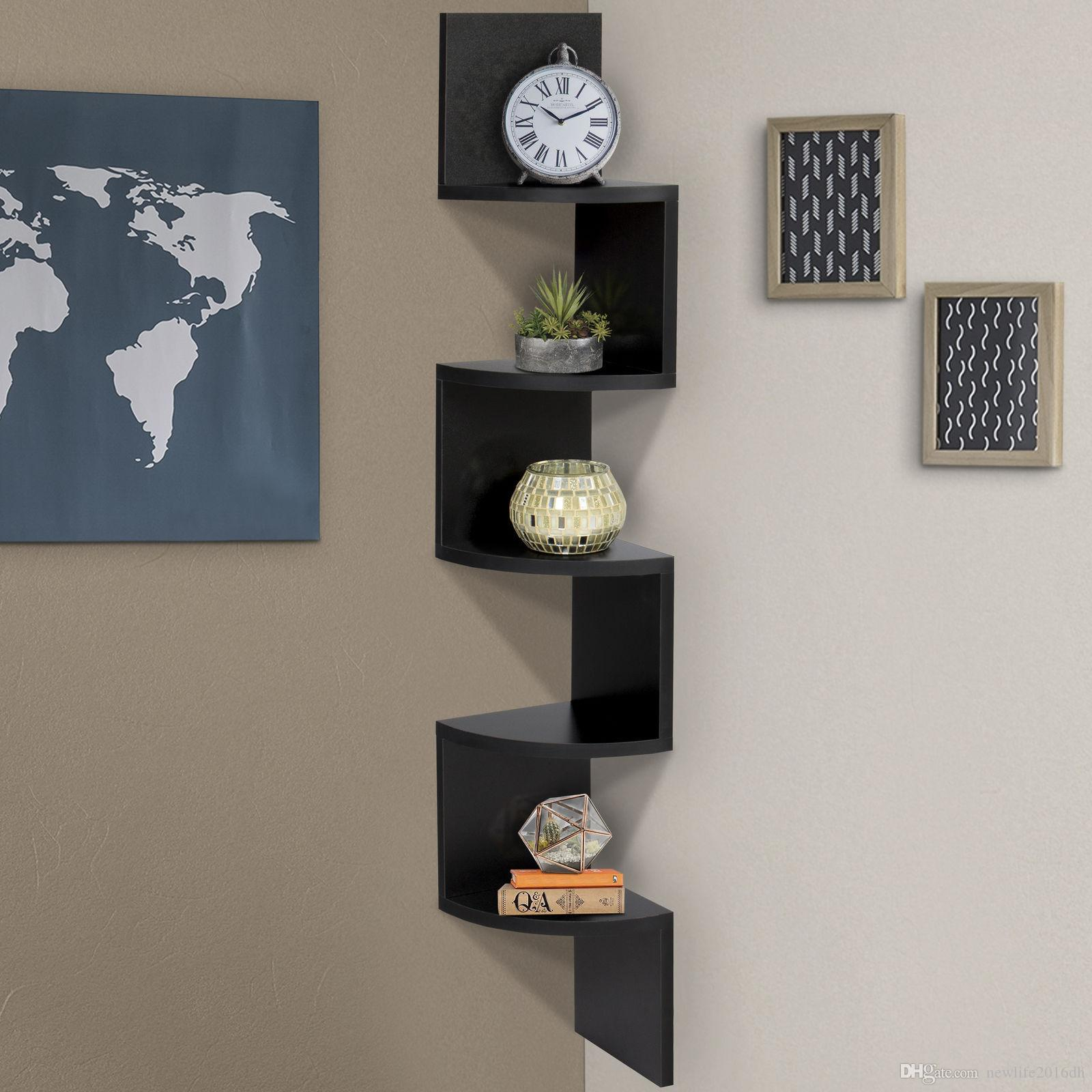 Large Corner Wood Zig Zag Wall Shelf Black Finish Home Decor