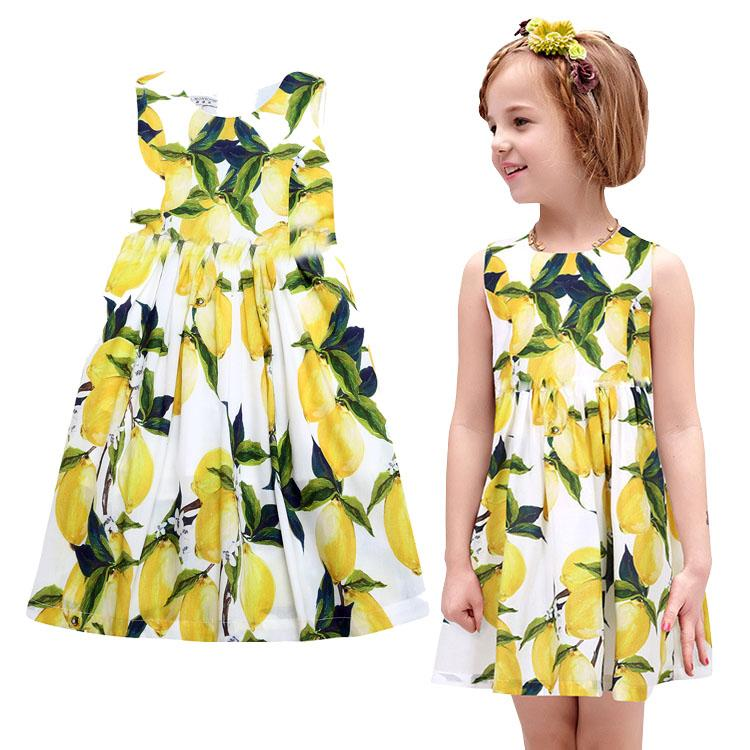 edcc5bb8ee222 Prettybaby kids girls sleeveless Pastoral style princess party dress  digital lemon printed girl cool summer sundress Pt0547#