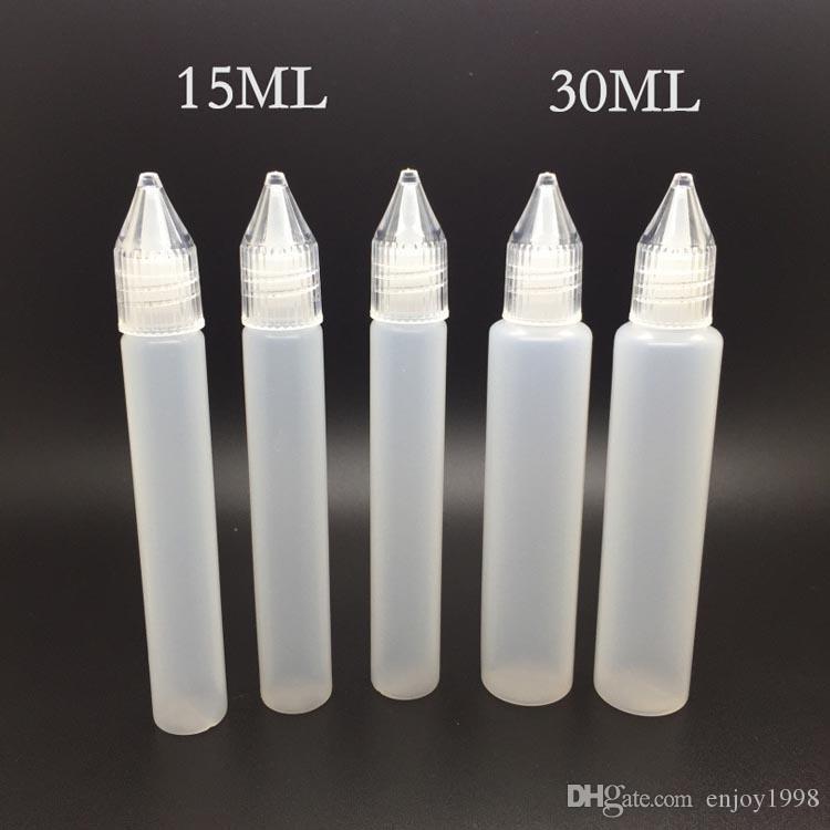 High_End Products Crystal Cap PE 15ml 30ml Bottles E Liquid Bottles 0.5OZ 1OZ Dropper Plastic Empty Pen Style Bottle Free DHL