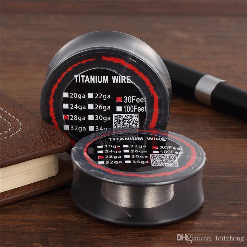 Titanium Wire Resistance 30 Feet TA1 Ti AWG 26g 28g 30g Gauge Coil Roll For Temp Control TC Vape Mod Electronic DHL