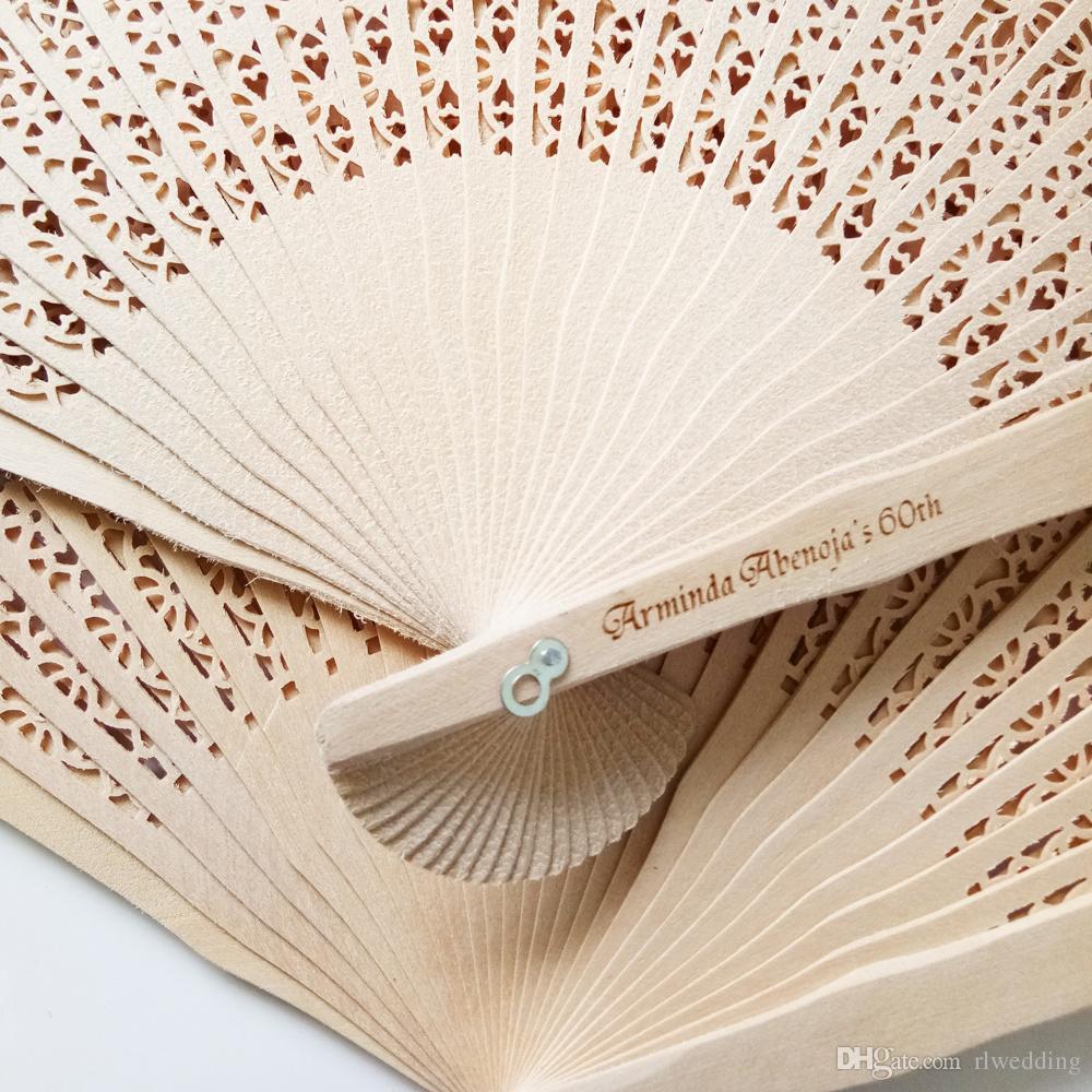 mariage ventilateur de pliage avec boîte personnalisé mariage faveur et cadeau pour les invités en bois évider fan de bois de santal nom imprimable date