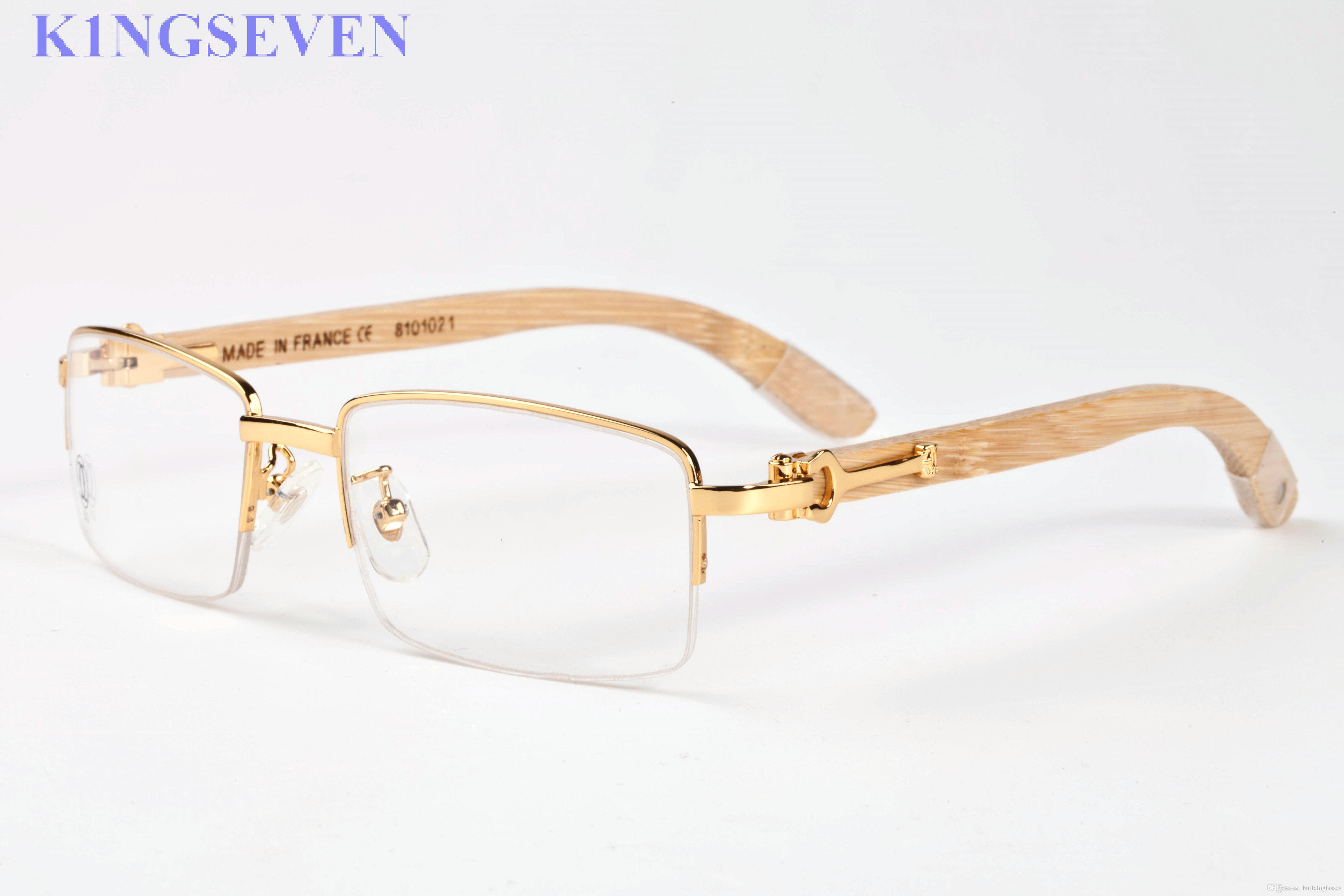80bc61d7b6c Top Quality Brand Sunglasses Classic Luxury Semi Rimless Sunglasses Women  Hollow Out Metal Wood Designer Buffalo Horn Glasses Eyeglasses Glasses  Frames ...