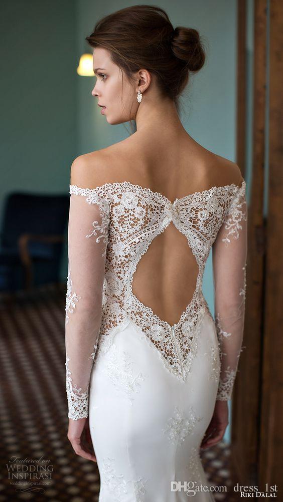 Riki Dalal 2016 신제품 도착 깎아 지른 목 환상 떨어져 긴 소매 인어 웨딩 드레스 섹시한 다시 잘라 레이스 신부 가운 EN61711
