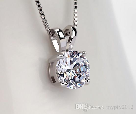 30% белое золото покрытием цепи стерлингового серебра 925 lassic 2ct пасьянс Циркон сердца стрелки CZ Ожерелье для женщин TM