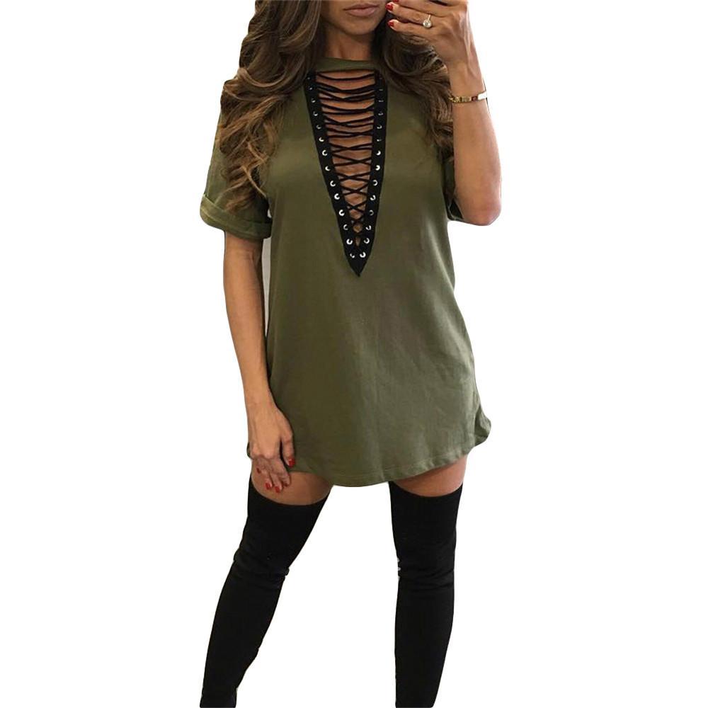 b1bed11d7c986b Nouveau 2017 Sexy Évider T-Shirt Robe À Manches Courtes O Cou Dentelle  Rivet Casual Mini Femmes Dress Une Ligne Femme Robes D'été q171118