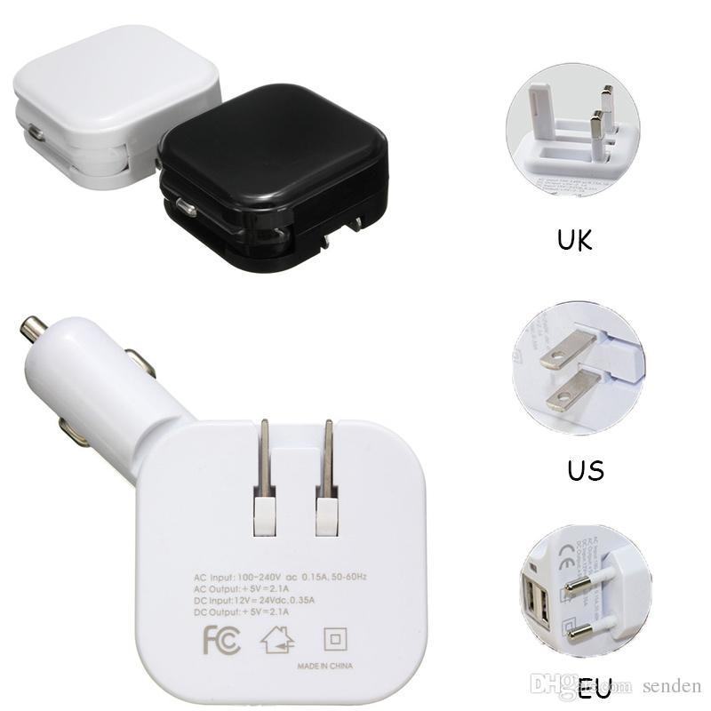 الجملة العالمي 2 في 1 المزدوج USB ميناء DC 5V 2.1A شاحن سيارة قابلة للطي محول الطاقة الرئيسية / الجدار قابس مزدوج USB سيارة السجائر تهمة قابلة للطي