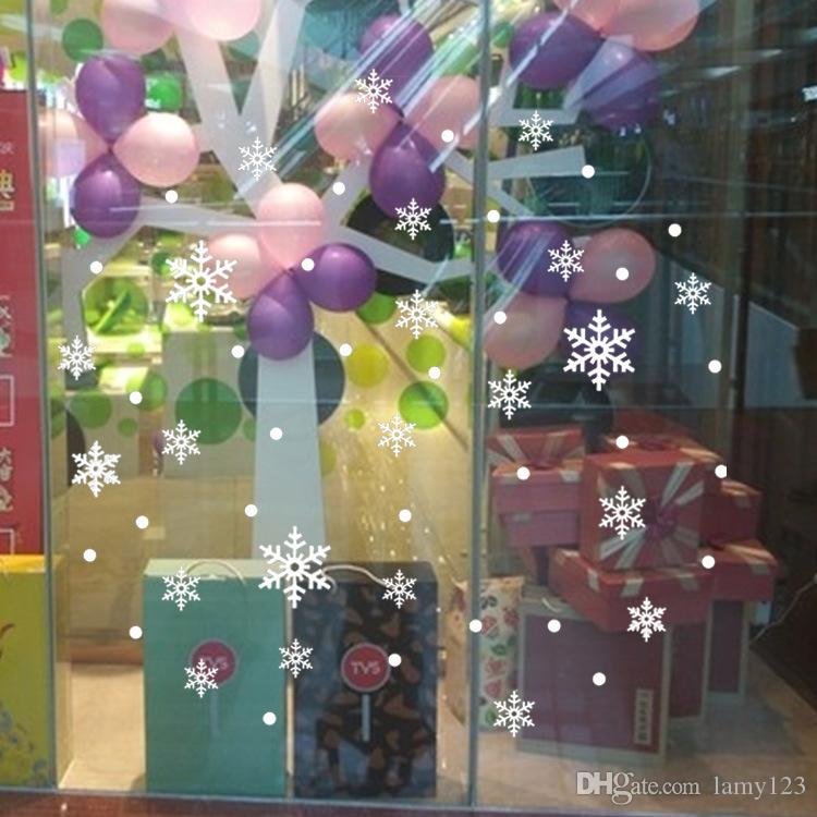 """Wholesale New DIY Christmas Snowflakes Wall Stickers Shop Window Glass Store School Background Decoration PVC Removable Wall Decal 31x33"""""""