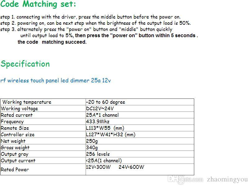 DC12V 24 V Led Controlador de Toque 1 Canal RF Sem Fio 25a 300 w Led Dimmable Controlador Remoto Dimmer Para Controlar a Faixa de Led