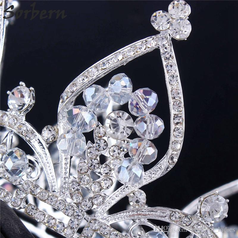 Sorbern Silver Round Wedding Crown Hair Accessories Large Tiaras Brides Halloween Hair Accessories For Women Dropship Suppliers
