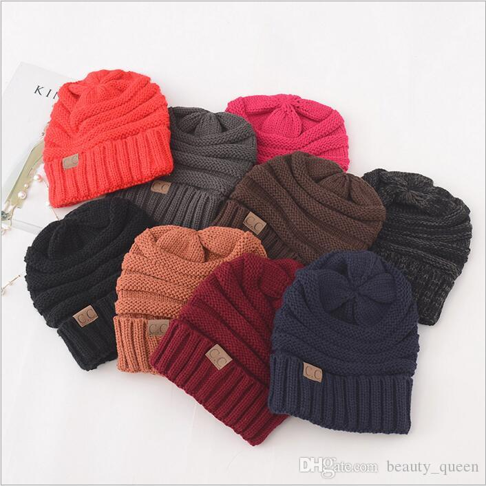 Cc Beanie Cc Trendy Knitted Hats Winter Oversized Chunky Skull Caps