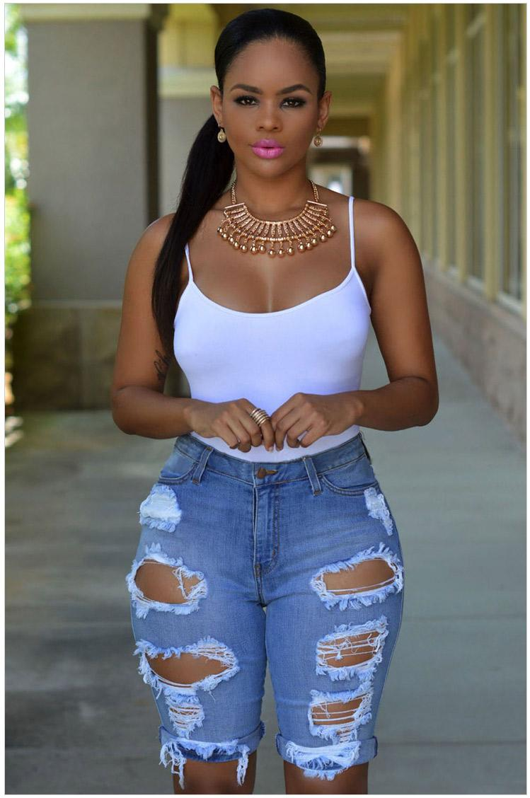 7a2f837376d Short Jeans Women 2016 Hot Summer Style High Waisted Ripped Denim Distress  Shorts Jeans Casual Hole Rock Boyfriend Jeans Shorts