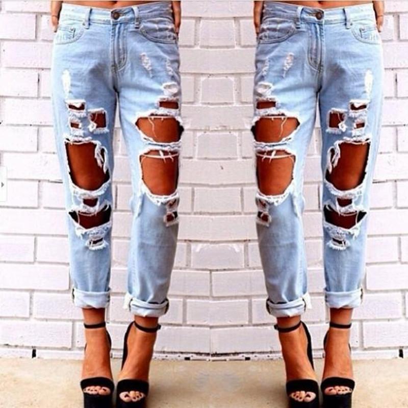 2015081401 2015 New Fashion jeans donna Light Blue Solid Novelty Skinny Tutta la lunghezza strappata