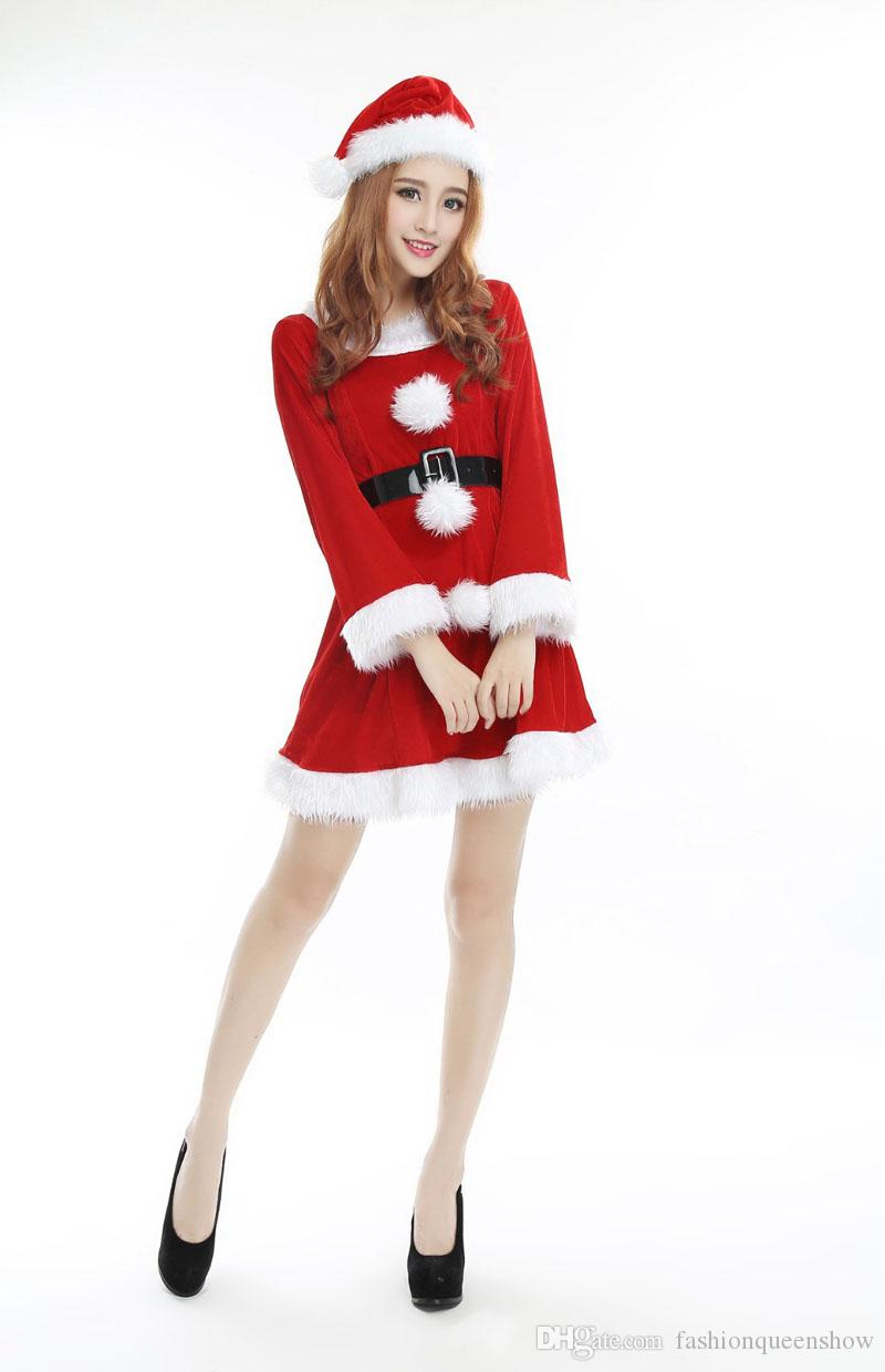 Christmas Party Sexy Santa Costume Women Red Long Sleeve Mini Dress With Santa Hat Cute Cosplay Dress