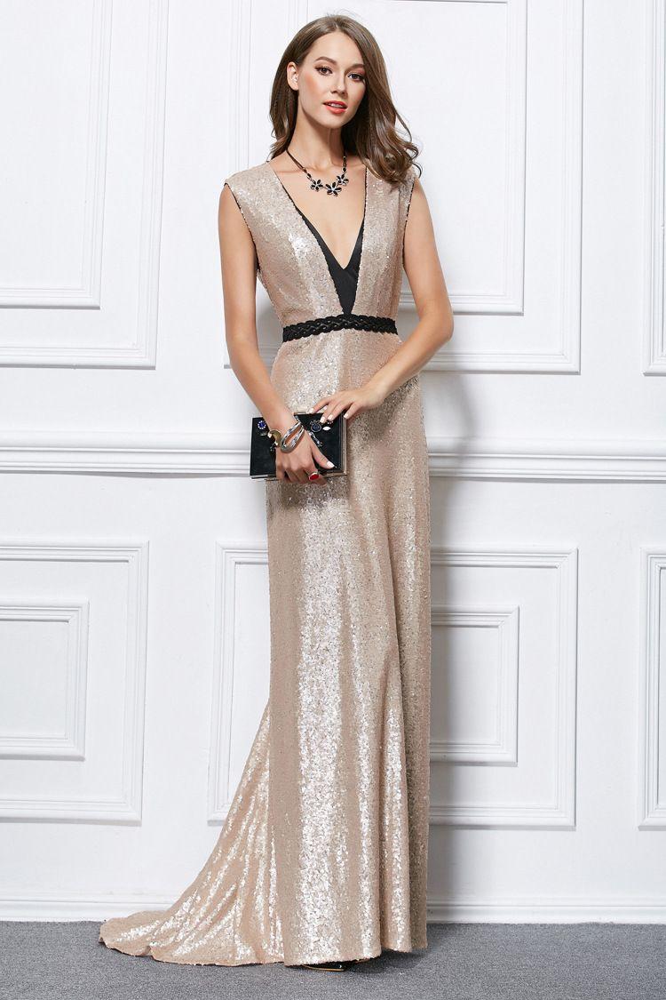 Elegant Lady Evening Dress, Fashion Sexy Nude Color Deep V Halter ...