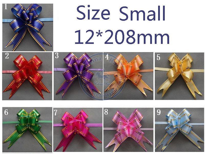 Tamaño Pequeño 12 * 208mm Tire Arcos Cintas Flor Envoltura de Regalos de Boda Decoración Del Banquete de Boda de múltiples colores opción al por mayor