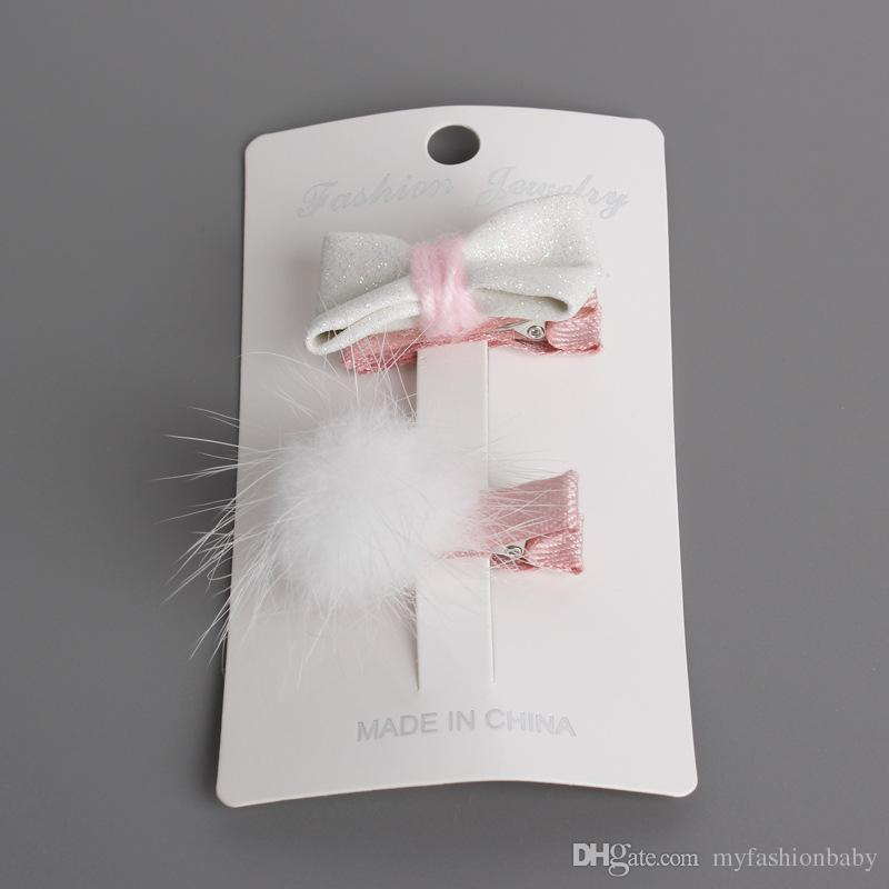 Artificial Glitter Felt Hair Bows Fur Ball Soft Newborn Baby Hair Clips White Silver Glitter Korean Style Kids Hairpin