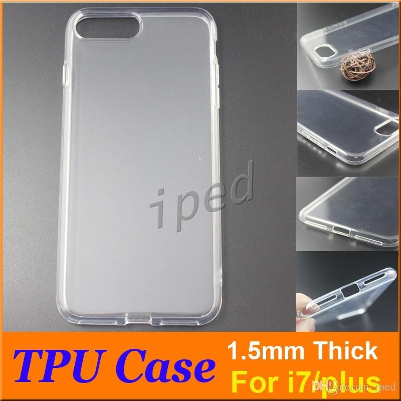 High quality 1.5mm Thick Cell Phone Case For iPhone 7 i7 Plus Soft TPU Transparent Clear Phone Back Cover Case with retail polybag cheap