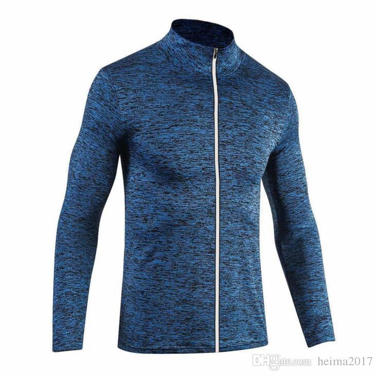 2017 nuova giacca sportiva fitness maschile allenamento di basket asciugatura rapida sport maglione a maniche lunghe giacca sportiva da corsa con cerniera