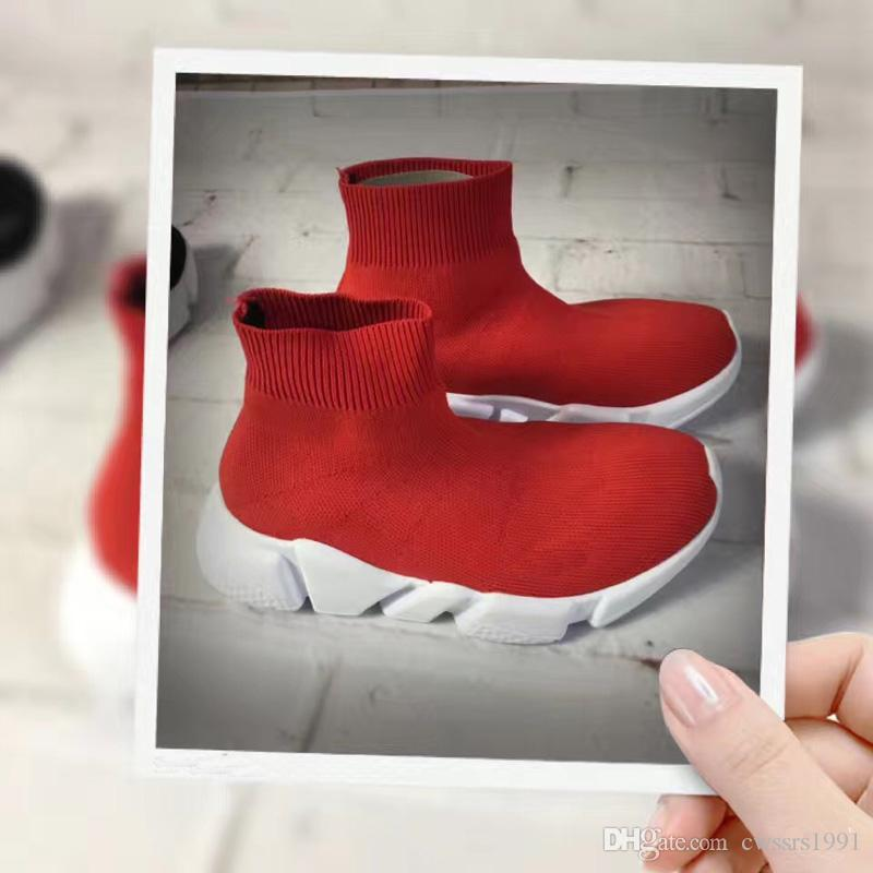 Fashion Kids Socks Boots Children High-Top Athletic Shoes Baby Slip-On Casual Flats Shoes Speed Trainer Running Shoes Black Gray Blue Red
