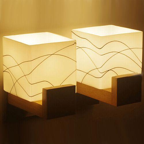 2018 Two Heads Simple Arandelas Modern Wood Glass Sconce Led Wall ...