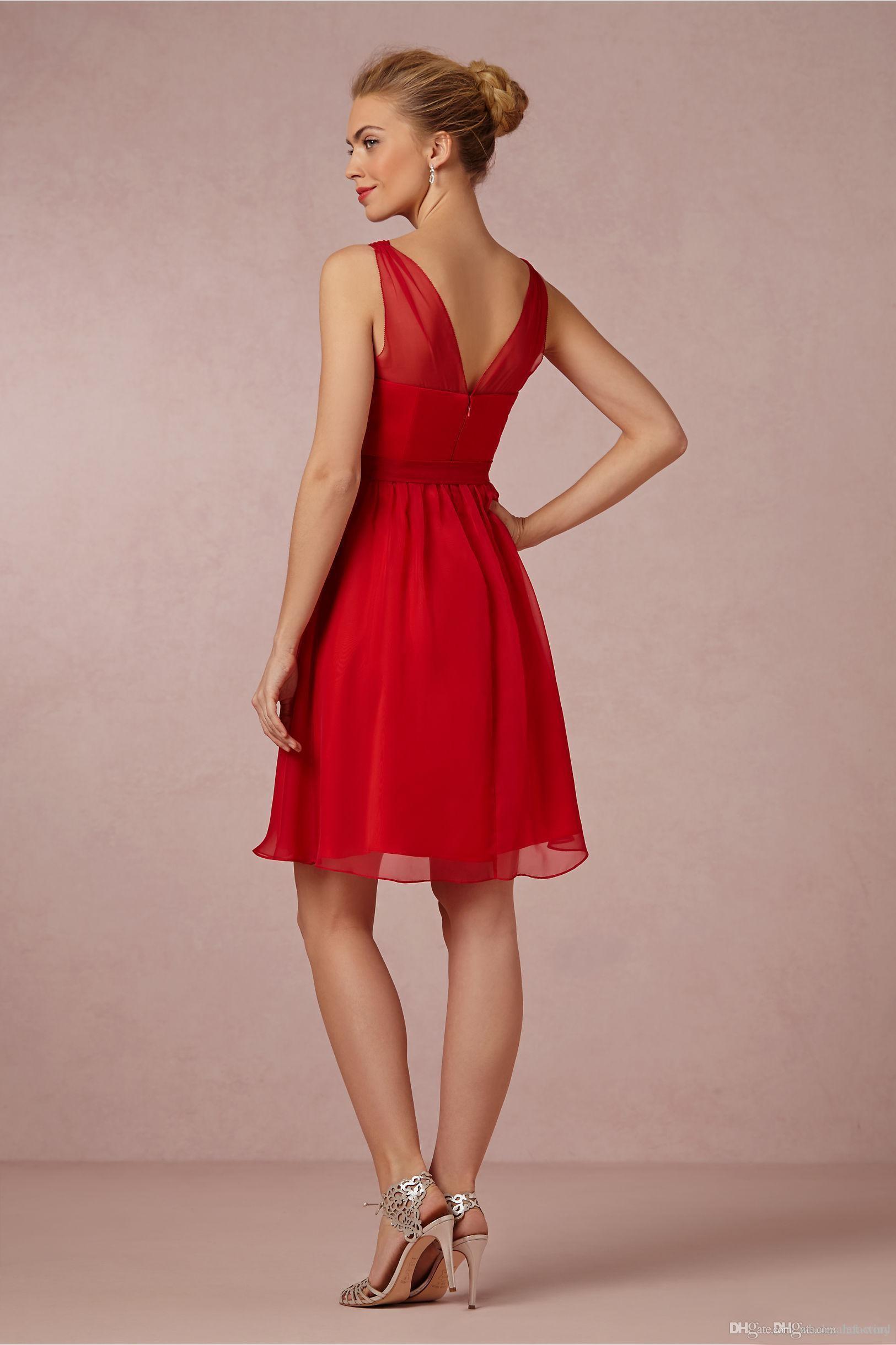 Cheap короткие красные платья подружки невесты v шеи шифоновые мини-коктеильные платья стойки кровопролития свадебные платья свадебные для gilrs