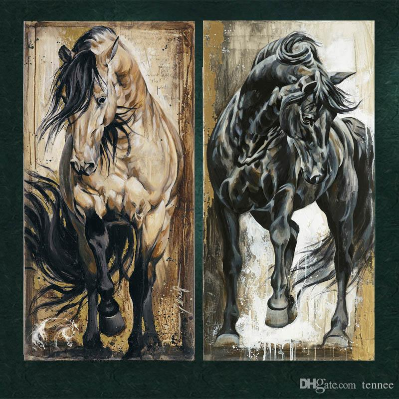 Wall Prints Pictures For Living Room Decoration Modern Canvas Paintings Abstract Pop Black Horse Animal Oil Painting Printed No Frame