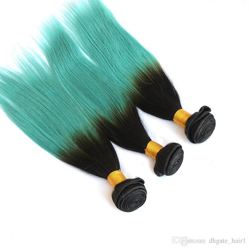9A Braziliaanse # 1b / groene ombre haar weeft twee toon 3bundles zijdeachtige rechte donkere wortels groene ombre braziliaanse haarextensies DHL gratis